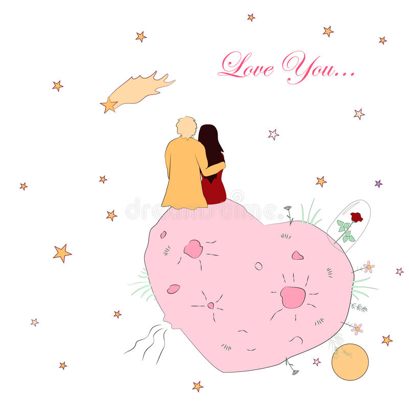 Valentines day card with couple looking at the falling star royalty free illustration