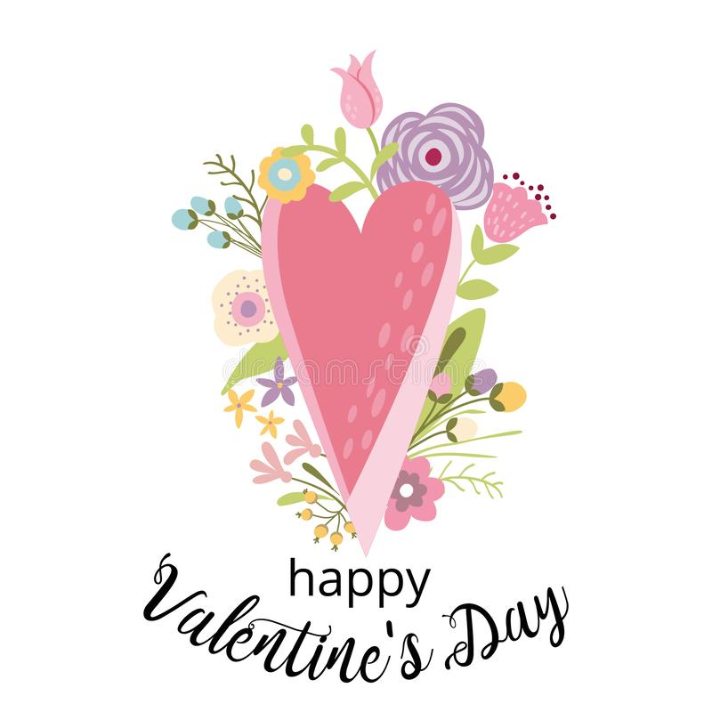 Valentines Day card cute hand drawn pink heart flowers phrase Happy Valentines Day Vector illustration royalty free illustration