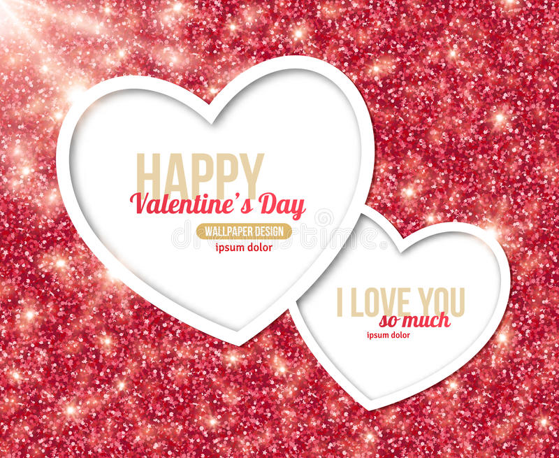 Valentines Day Card Design with Hearts vector illustration