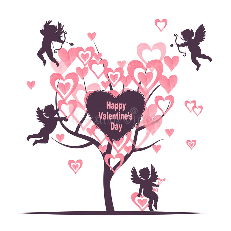 Valentines Day card design with Love tree and cute cupids. royalty free illustration