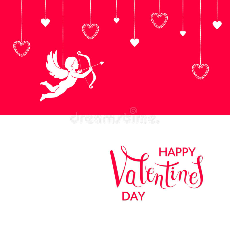 Valentines Day card. Double horizontal red and white card. White Cupid and hearts hanging on a red background. Red congratulation text Happy Valentines Day on a stock illustration