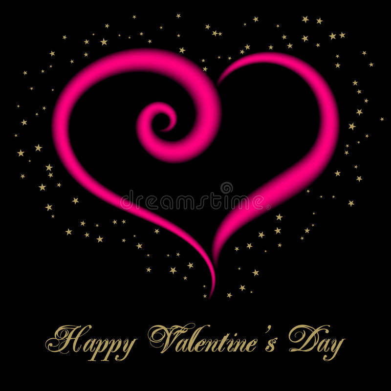 Valentines day card. Happy Valentine's Day Greeting Card on black background. Vector illustration vector illustration