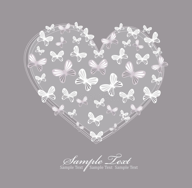 Download Valentines Day Card With Heart And Butterfly Stock Illustration - Image: 18871351