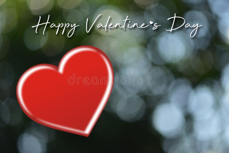 Valentines day card with hearts.Heart shape on blurred bokeh background. royalty free stock image