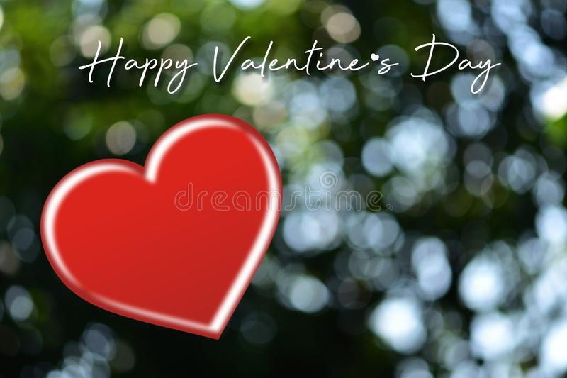Valentines day card with hearts.Heart shape on blurred bokeh background. stock photo