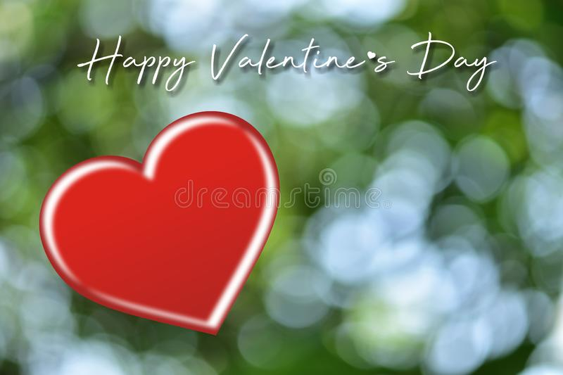 Valentines day card with hearts.Heart shape on blurred bokeh background. stock photography