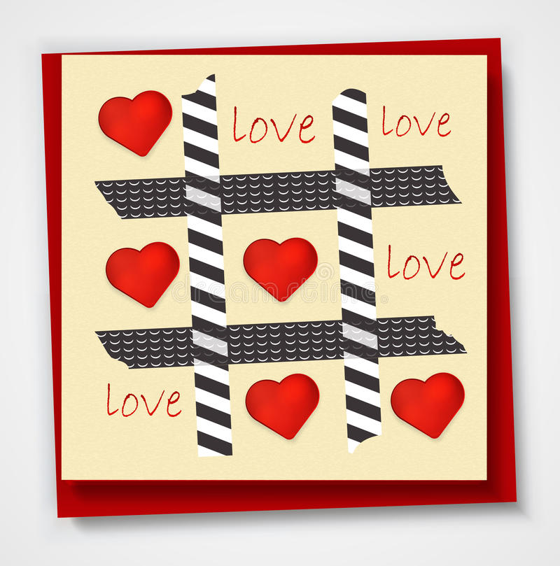 Valentines day card with hearts and words of love on white background. EPS 10 vector illustration
