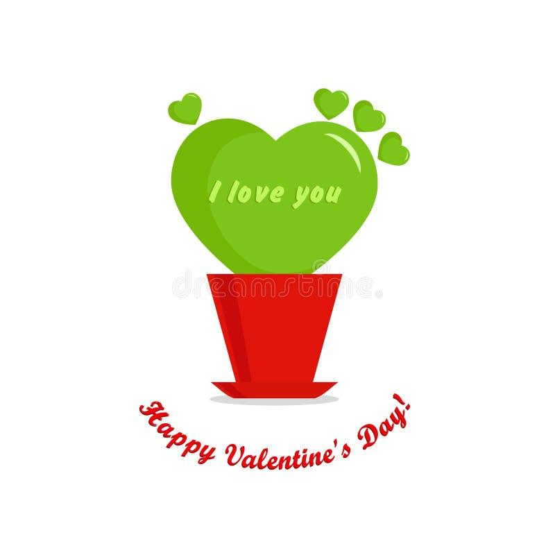 Valentines day card, leaf heart stock illustration