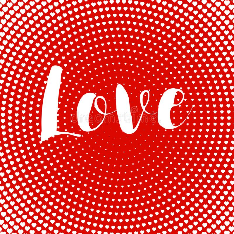 Valentines day card love text design heart card red halftone dots radiall vector illustration royalty free illustration