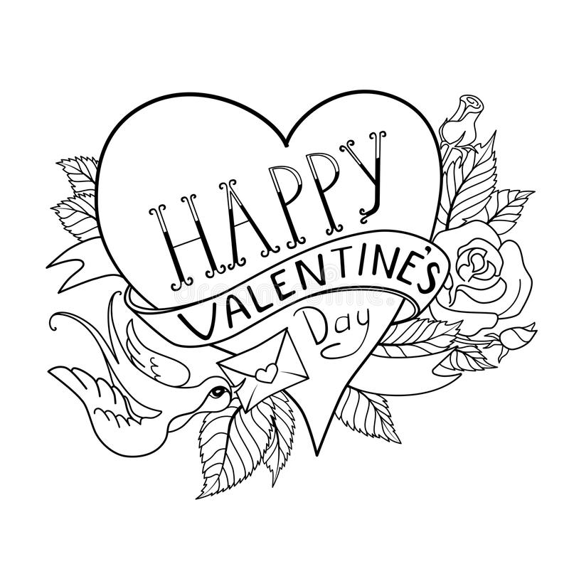 valentines day card old school tattoo style stock vector