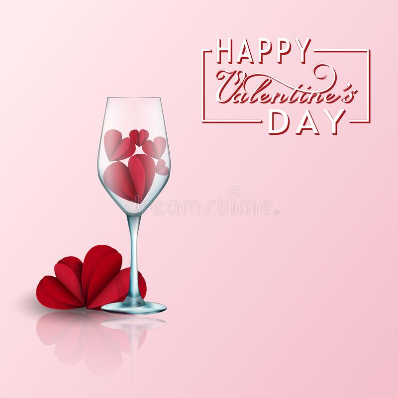 Valentines day card with paper cut red hearts and beautiful 2 glasses. 3d realistic elements of love for greeting card royalty free illustration