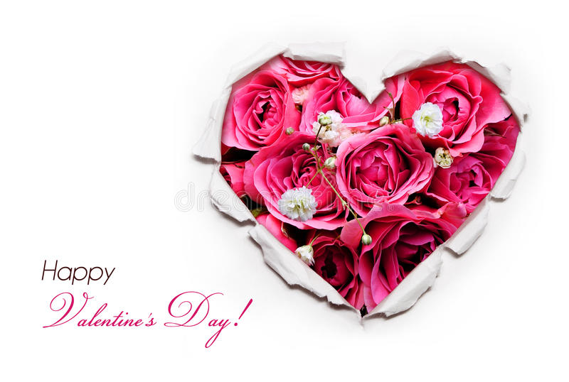 Valentines Day Card. Paper Hole Ripped in shape Heart with Rose stock photography