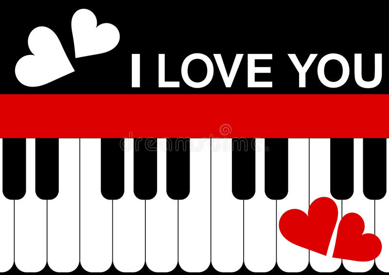 Valentines Day Card Piano Message royalty free stock photo