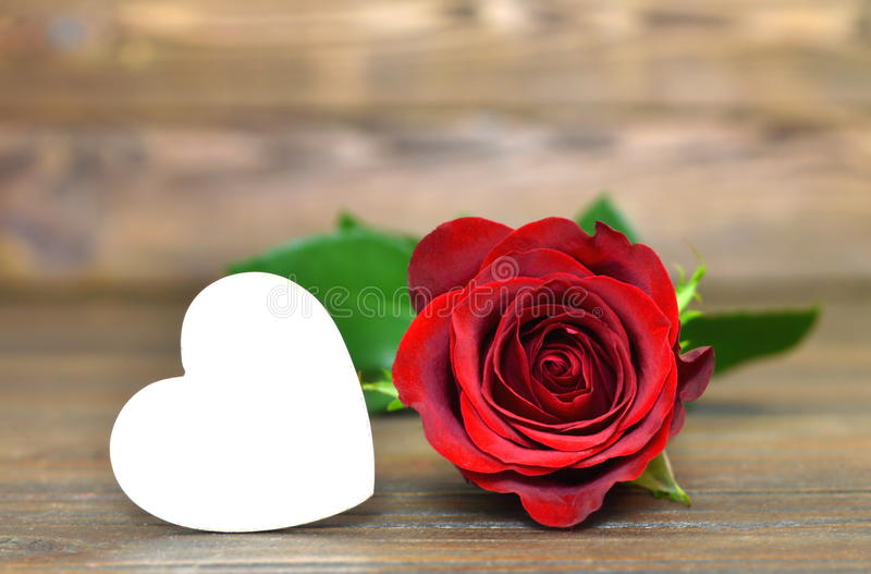 Valentines Day card: Red rose and heart. On wooden background royalty free stock image