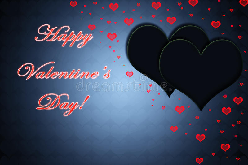 Valentines day card with red text, black and red hearts royalty free illustration