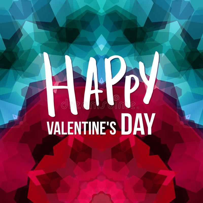 Valentines day card template. Colorful geometric mosaic background. royalty free illustration