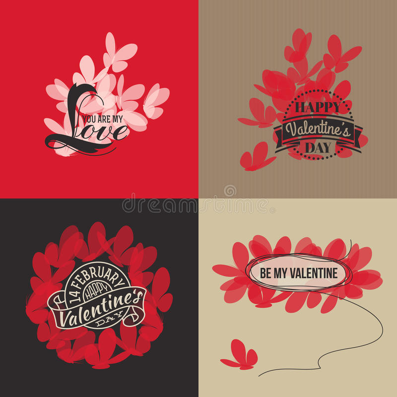 Valentines day cards with butterflies. Vector illustration vector illustration