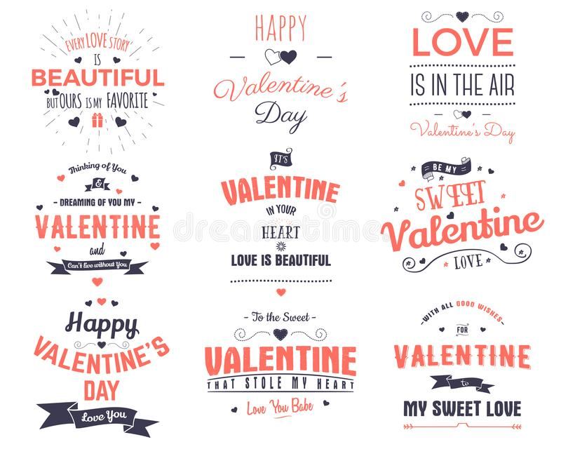 Valentines day cards collection. Typography overlay design elements for holiday scrapbooking, gift cards, t-shirts. Other prints. Stock vector emblems isolated royalty free illustration