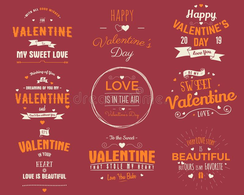 Valentines day cards collection. Typography overlay design elements for holiday scrapbooking, gift cards, t-shirts. Other prints. Stock vector emblems isolated vector illustration