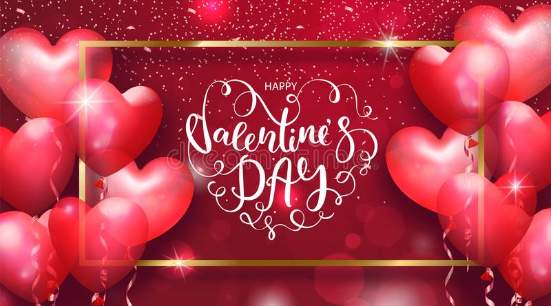 Valentines Day cards with heart shaped air balloons, gold frame and beautiful Lettering. Vector illustration. vector illustration