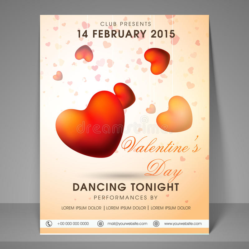 Valentines Day celebration party flyer or banner. stock illustration