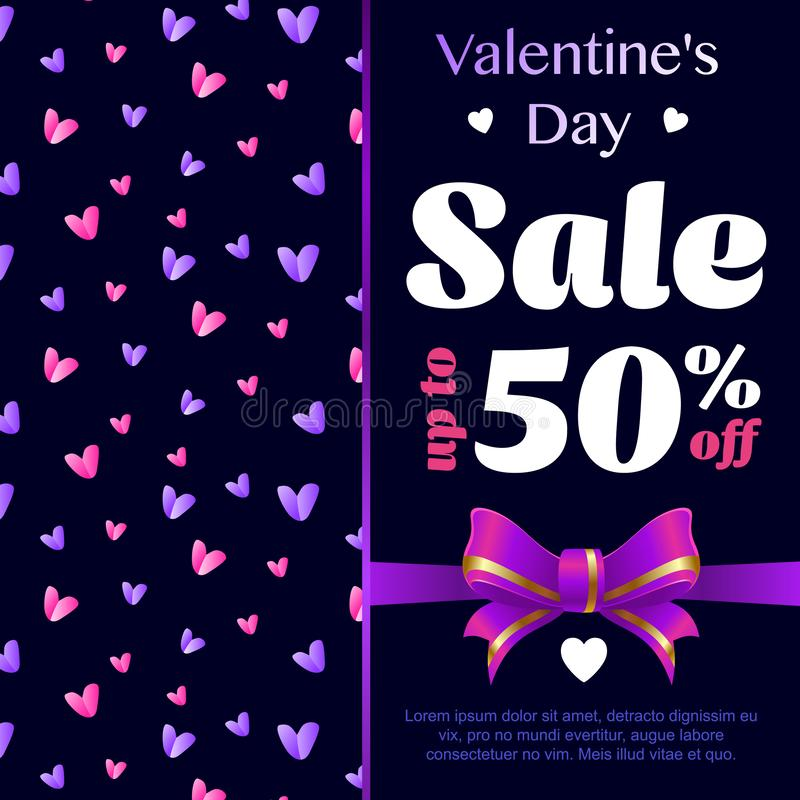 Valentines Day celebration Poster, Banner design of Sale with different discount offer. Vector vector illustration