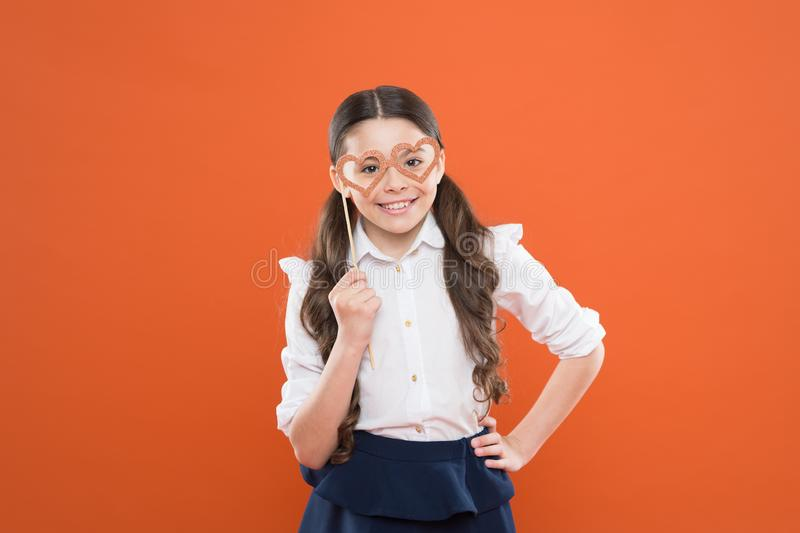 Valentines day. child with party heart glasses. smart intelligent kid. back to school. love funny study. knowledge day stock photography