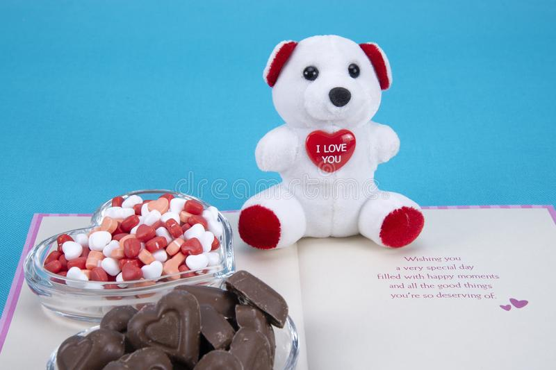 Valentines day chocolate candy stock images