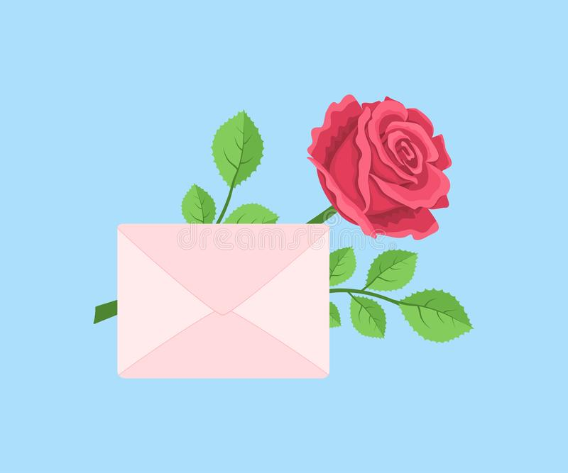 Valentines day. Closed envelope with rose on blue background stock photo