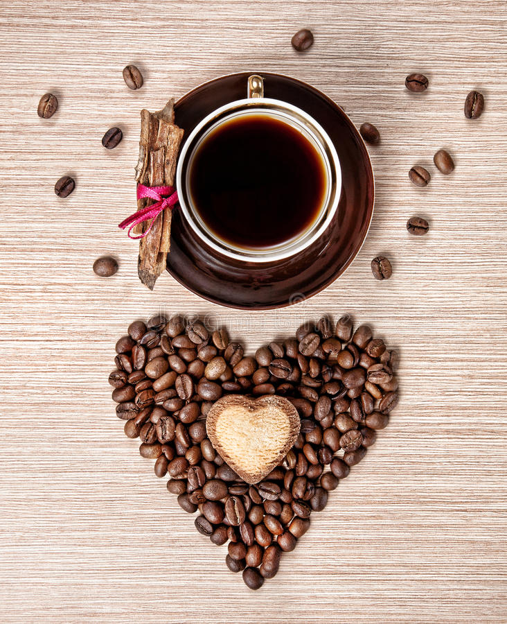 Valentines day coffee and cinnamon stock photography