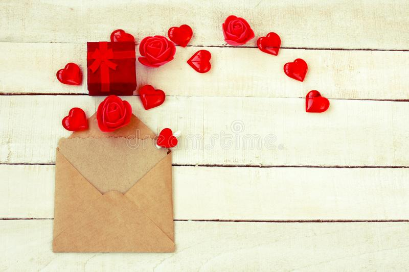 Valentines day composition, envelope with letter, gift box royalty free stock images