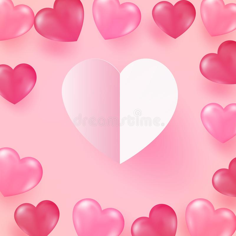 Valentines day concept background. Vector illustration of 3d red and pink paper hearts . Cute love sale banner or stock illustration