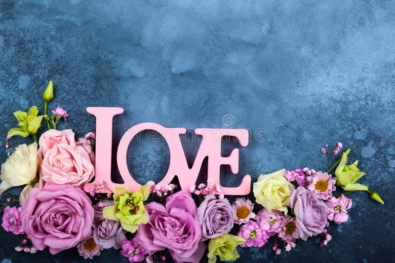 Valentines day concept with flowers royalty free stock photo