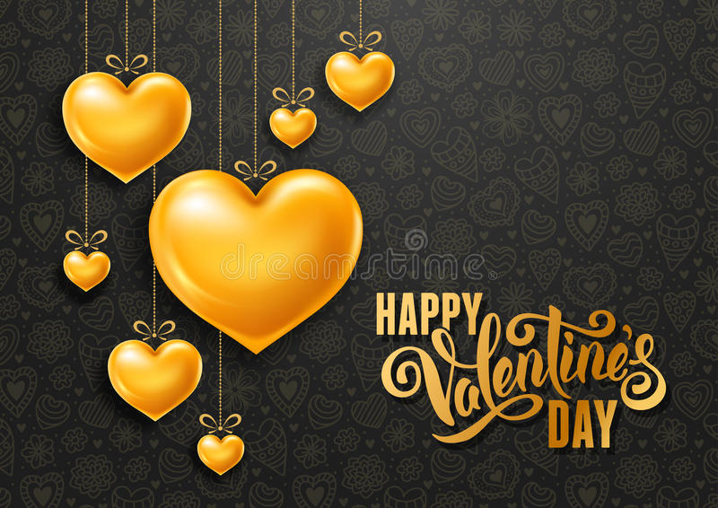 Valentines Day. Congratulation design with shiny and glossy golden hearts, symbol of love and calligraphy inscription on black background. Vector illustration royalty free illustration