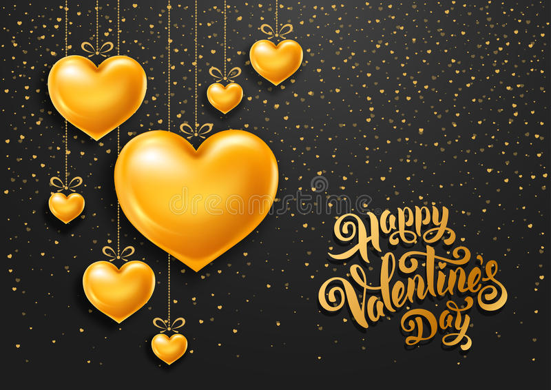 Valentines Day. Congratulation design with shiny and glossy golden hearts, symbol of love and calligraphy inscription on black background. Vector illustration vector illustration