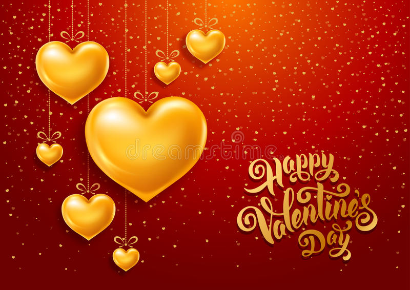 Valentines Day. Congratulation design with shiny and glossy golden hearts, symbol of love and calligraphy inscription on red background. Vector illustration royalty free illustration