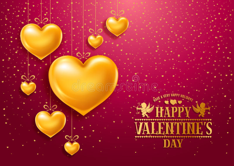 Valentines Day. Congratulation design with shiny and glossy golden hearts, symbol of love and calligraphy inscription on red background. Vector illustration vector illustration