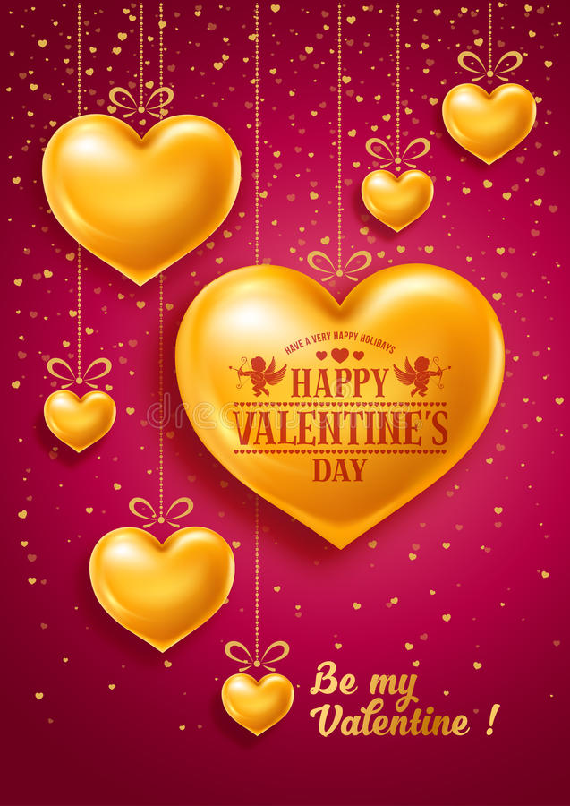 Valentines Day. Congratulation design with shiny and glossy golden hearts, symbol of love and calligraphy inscription on red background. Vector illustration stock illustration