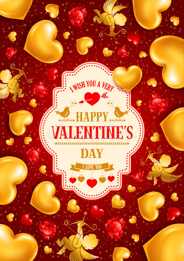 Valentines Day. Congratulation design with shiny and glossy golden hearts, symbol of love, cupids and diamond hearts on red background. Vector illustration vector illustration
