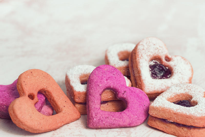 Valentines day cookies. Valentines Day background with hearts royalty free stock photo