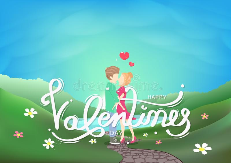 Valentines day, couple kissing characters, calligraphy decoration greeting card, landscape fresh sky scene seasonal holiday stock illustration