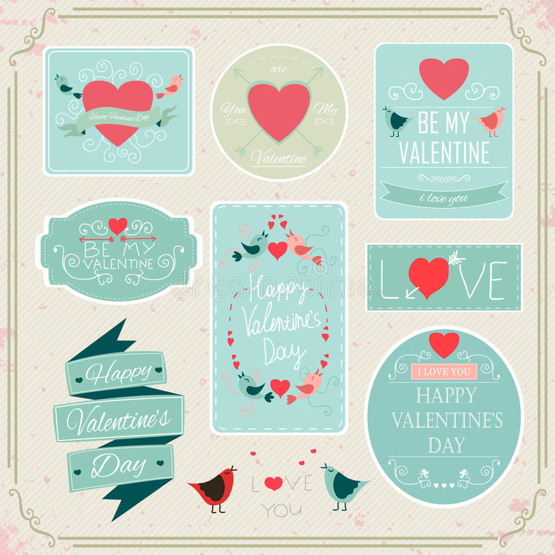 Valentines Day Decorations Vector Design Elements. Valentines day set - labels, emblems, badges and other decorative elements. Vector vector illustration