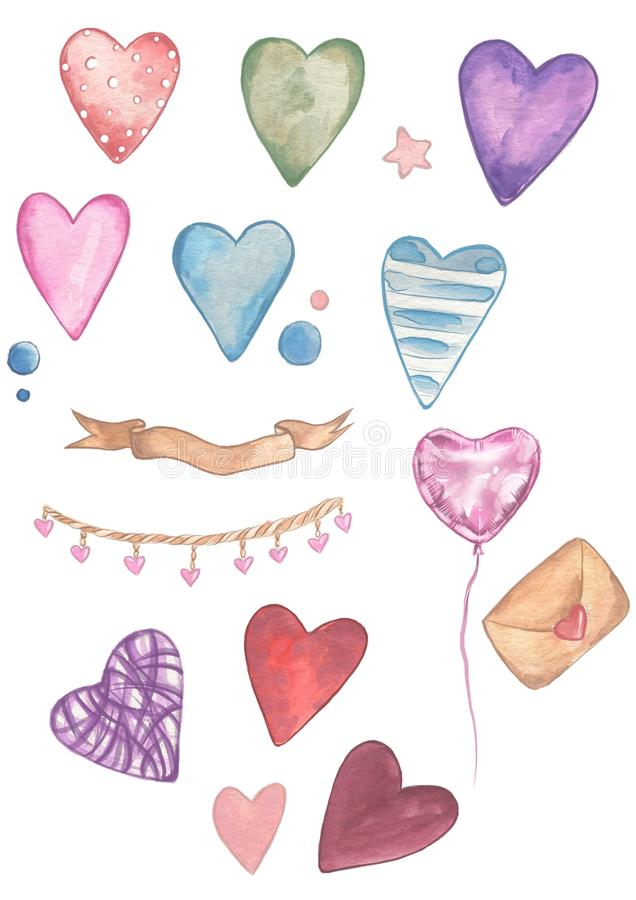 Valentines Day. Delicate Love. Hand drawn water color hearts. On the flat white background stock illustration