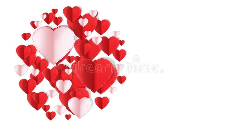 Valentines day design with hearts stock illustration