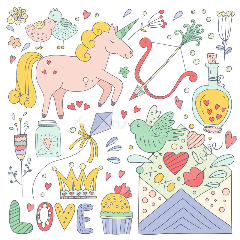 Valentines Day Doodle Collection. Set of romantic elements. Handdrawn doodle Valentine's day characters and illustrations. Cute save the date or wedding royalty free illustration