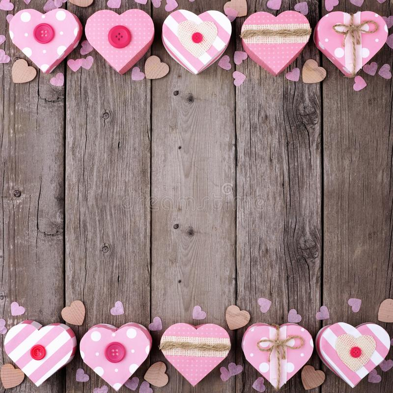 Download Valentines Day Double Border Of Pink Rustic Heart Shaped Gift Boxes Stock Image