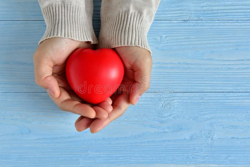 Female hands is holding a Red heart. Valentines day. Female hands is holding a Red heart on blue wooden background. Copy space stock photography