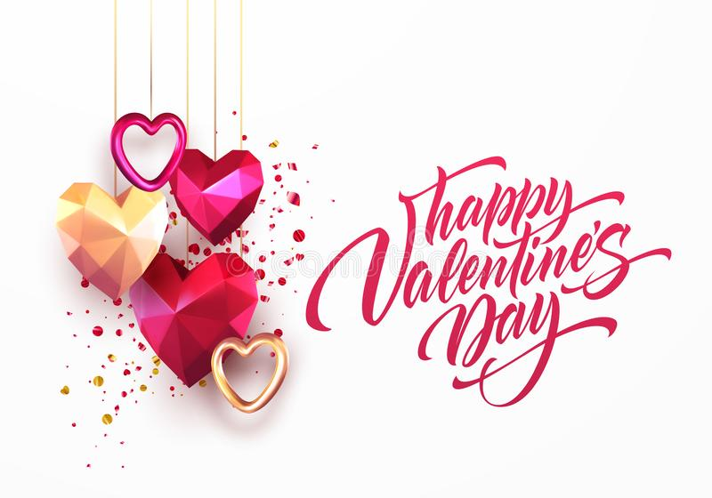 valentine s day vector low poly heart background  eps10