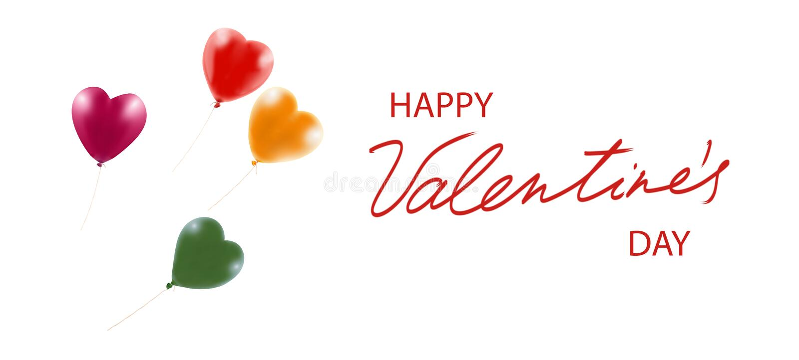 Valentines day with festive heart shaped balloons. Happy valentines day with festive heart shaped balloons stock image