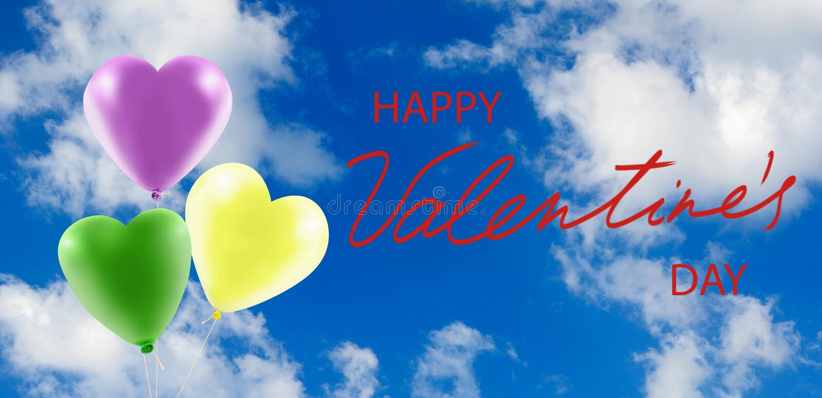 Valentines day with festive heart shaped balloons. Happy valentines day with festive heart shaped balloons stock photo